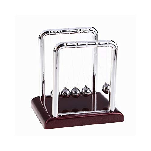 Supernine Newton's Cradle Balance Metal Steel Pendulum Table Decor Physics Science Ball Red Base