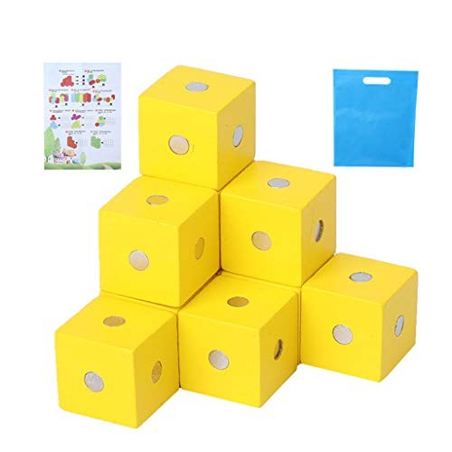 CAOREN Magnetic Building Blocks Cube Wooden Toys for Kids Assembling Toddlers