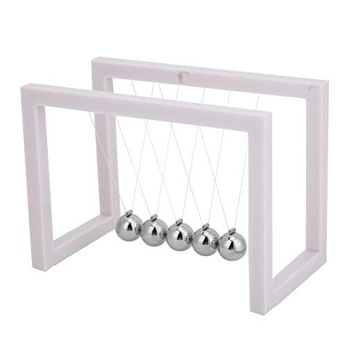 HEEPDD Newtons Cradle 5 Pendulum Balls with Acrylic Stand Science Physical Model Stress Relief Toy for Home Office Desktop Decorative Ornament Gift