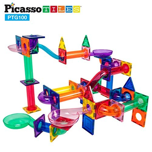 PicassoTiles Marble Run 100 Piece Magnetic Tile Race Track Toy Play Set STEM Building & Learning Educational Magnet Construction Child Brain Development Kit Age 8+ Years Old Toys