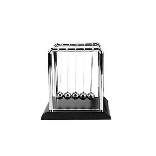 Cinlla Physics Science Energy Conservation Laws Newton Cradle Balance Pendulum Metal Ball Home Office Decor Teaching Tool Black Small