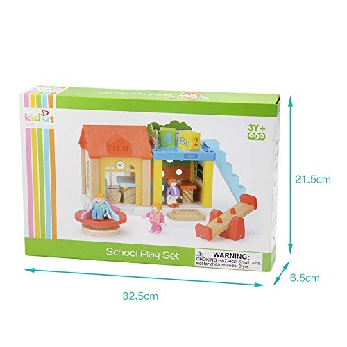 Metermall Kids Mini House Toy Simulation School Building Blocks Wooden Assembly Puzzle Children Birthday Gift Child Toys
