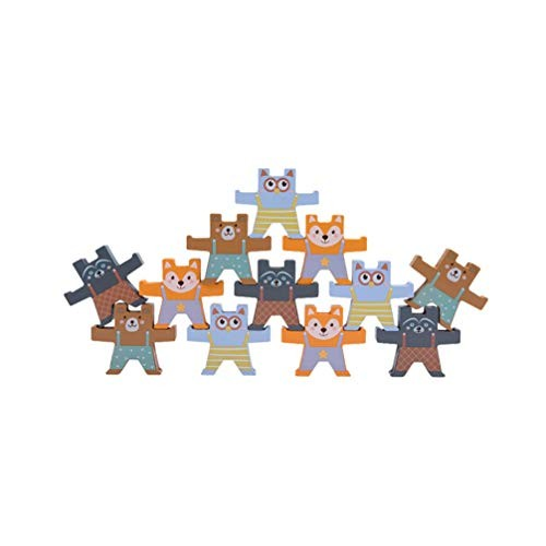 Toyvian 1 Set Bear Balance Blocks Wooden Block Building Toys Animal Nesting Puzzle Game Early Educational Toy for Kids Children