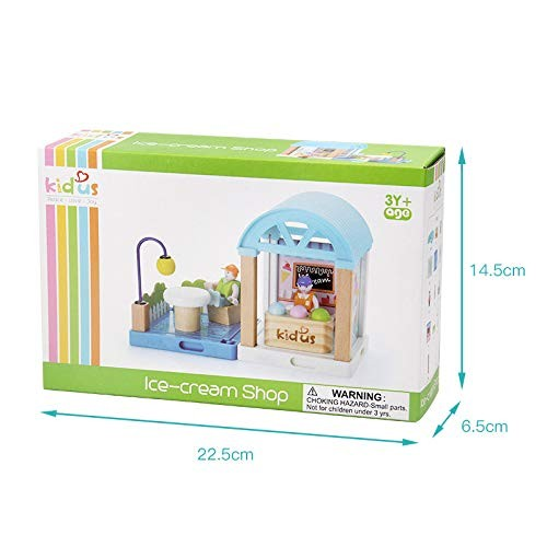 Metermall Kids Mini House Toy Simulation School Building Blocks Wooden Assembly Puzzle Children Birthday Gift Ice Cream Child Toys