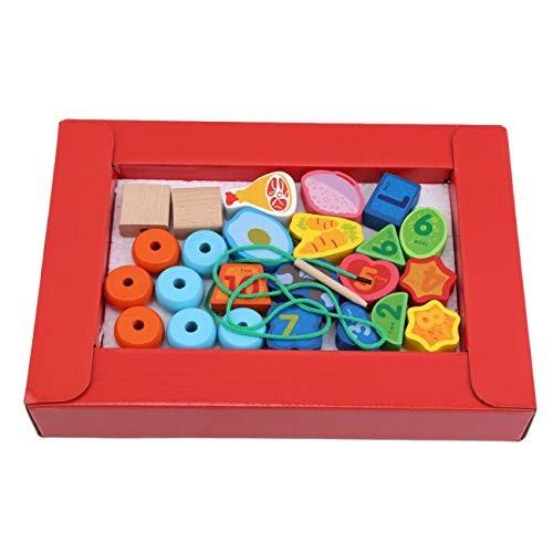 Bigsweety Children's Fruit Mathematics Shape Wooden Beaded DIY Early Education Puzzle Threading Bead Building Blocks ToyDigital Models