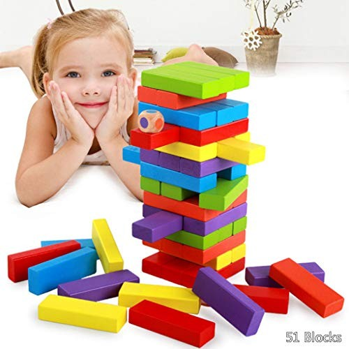 HoneyGod Colored Stacking Game Wooden Building Blocks for Toddlers 51Pcs Toys Color Match Early Education Desktop Parent-Child Interactive
