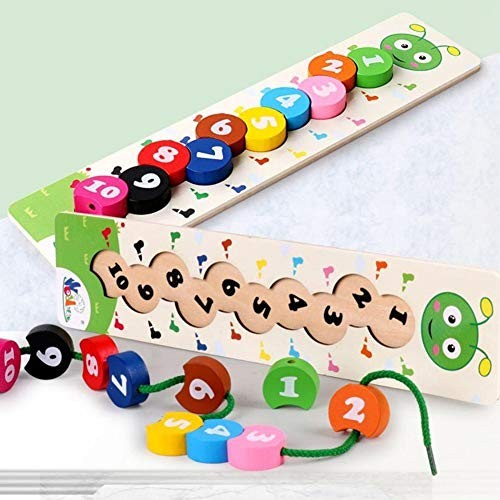 Lovise Baby Toys Wooden Rainbow Building Blocks String Beads Digital Caterpillar Educational Puzzle Toy Early Learning Parent-Child Interactive Colorful