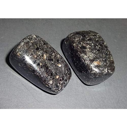 Sublime Gifts Nuummite Natural Healing Crystal Gemstones Collectible Tumbled & Polished Display or Wrapping Stone 2pc Set