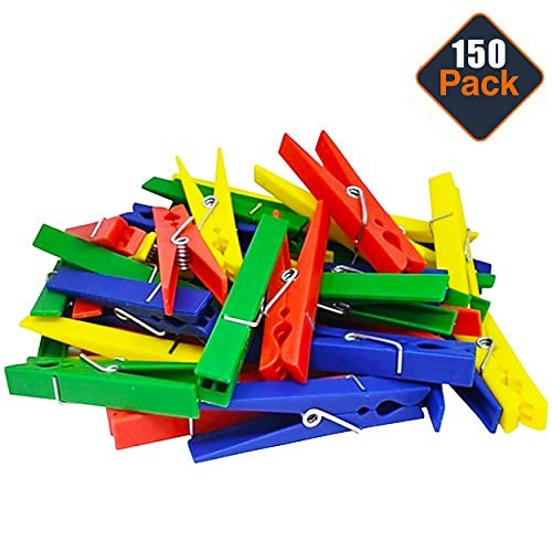 Momentum Brands STEM Supplies for Classroom Elementary Kids ~ 150 Colorful Plastic Clothespins Building Toys and Engineering Construction Design Challenges STEM Basics Materials