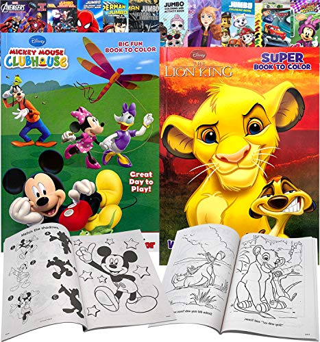 Disney Lion King Mickey Mouse Cartoon Ultimate Arts Crafts Coloring and Activity Books Gift Set Perforated Paper – Healthy Educational Play for Kids Toddlers