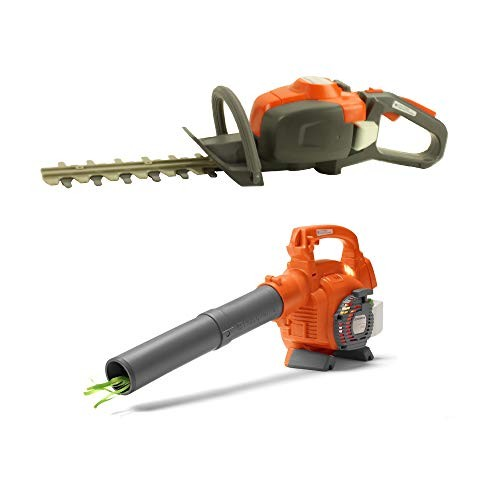Husqvarna Toddler Toy Battery-Operated Lawn Leaf Blower w Hedge Trimmer