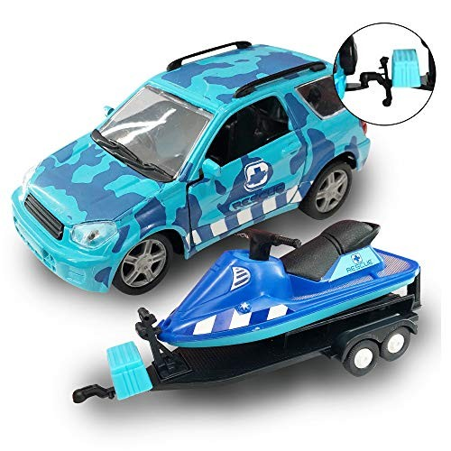ArtCreativity SUV Toy Car and Jet Ski Playset for Boys and Girls Interactive Ocean
