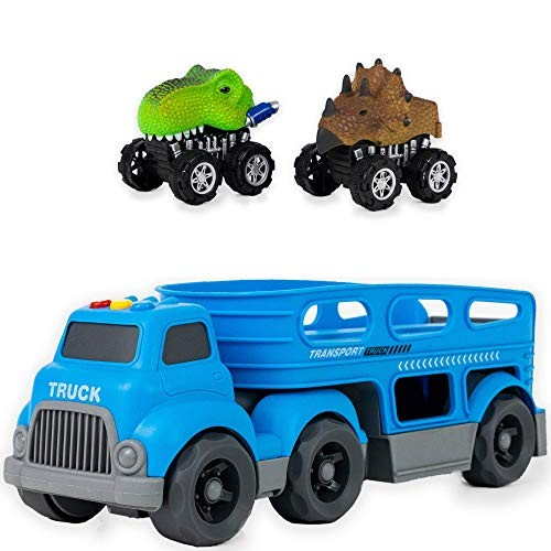 Truck Trailer Car Carrier Kids Toy Heavy Duty Auto Transporter Blue with Two Removable