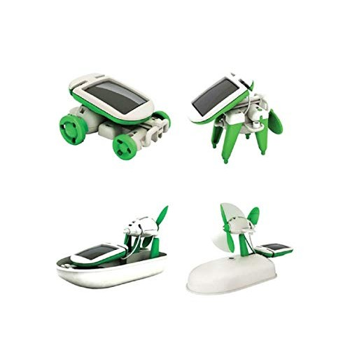 6 in 1 Creative DIY Education Learning Power Solar Robot Kit Children Toys Gift – Revolving Plane Windmill Airboat Puppy Car 6in1 3-4 Years
