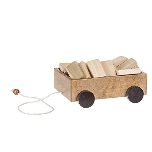 Amish-Made Wooden Building Block Toddler Pull-String Wagon Toy Harvest