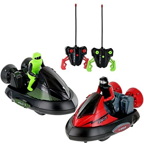 Playee Set of 2 Stunt Remote Control RC Battle Bumper Cars with Drivers Enjoy