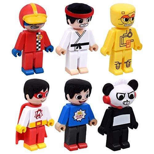 Ryan's World Cute and Collectible Figurines Bundle of 6 Include Ryan Kung Fu Scientist Racer Robot Combo Panda Great for Birthday Easter Gifts Prize Boxes Ages 3+