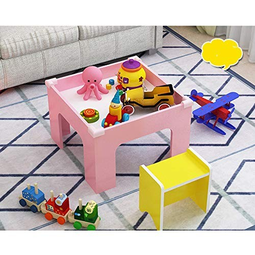 Iddefee Kid Activity Table Wooden Game Baby Building Block Toy Sand Children Space Train Play for KidsBoysGirls Color Pink Size 60 x 40cm