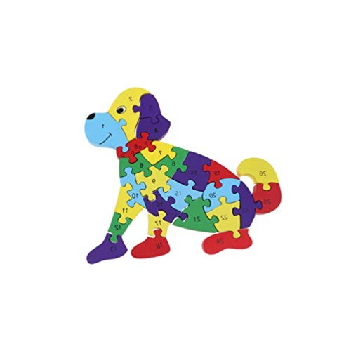 Alphabet Number Jigsaw Puzzle Dog Animal Wooden Building Blocks Kids Preschool Learning Educational Toy Gift