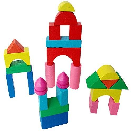 xuways Wooden Mini Castle Building Blocks Geometric Shape Educational Toys for Kids Childs Boys Girls