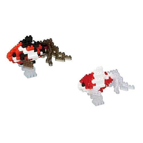 Nanoblock Koi Goldfish 2 Pack Wakin Black and Waking Red Building Kit