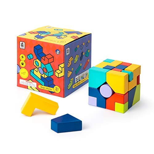 ROBUD 3D Wooden Pattern Blocks Shapes Puzzle – Montessori Educational Toys Gift for Toddlers Kids Age 3+ Years Old 21 Building & 25 Design Cards