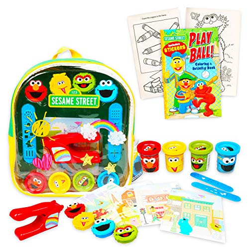 Sesame Street Backpack Art Supplies Set – Deluxe 11 Mini Elmo Activity Clear with Dough Molds Sheets and Bonus Coloring Book Sesame School Supplies