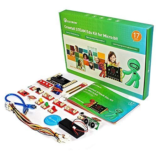 ELECROW Microbit Kit Micro bit Education Sensor for Kids Learning Coding Starter with Mirobit Board and Tutorial