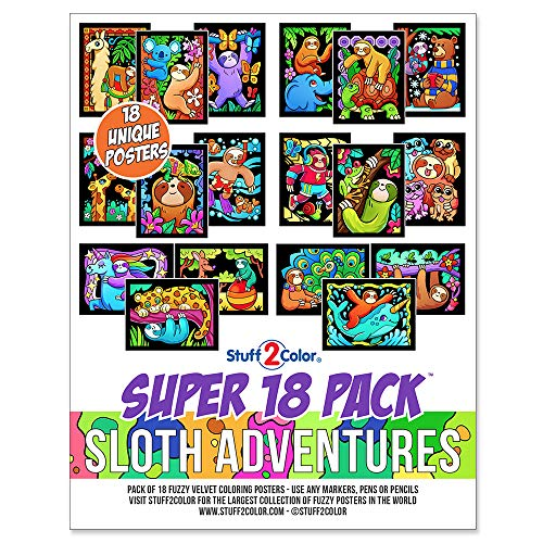Stuff2Color Super Pack Of 18 Fuzzy Velvet Coloring Posters Sloth Adventures  - Arts & Crafts For Girls And Boys Great After School Travel Planes Group  Activities With Friends - Educational Toys Planet