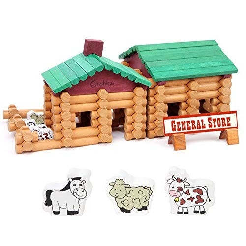 Blocks Old Farm and Small Shop Wooden House Building Set