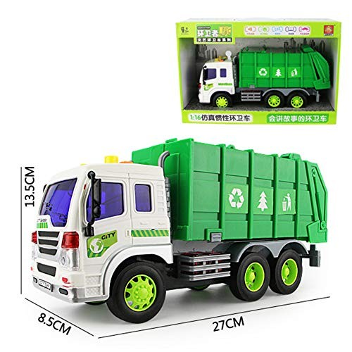 BeesClover Children Large Sanitation Truck Garbage Toy Car Simulation Inertia Engineering Vehicle Cleaning Light A