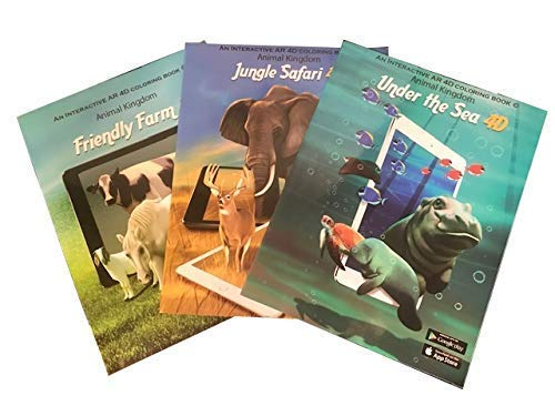 3 Coloring Books For Kids Ages 4-8 – Animals at Sea Farm and Jungle Safari with 3D Augmented Reality Free iOS Android Apps Crayola Scented Pencils Twistable Colored
