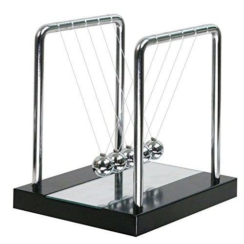 Mirror Newtons Cradle Balance Balls with Black Wooden Base Fun Science Physics Learning Toy Gadget Pendulum for Office Desk Toys and Home Decoration-Medium