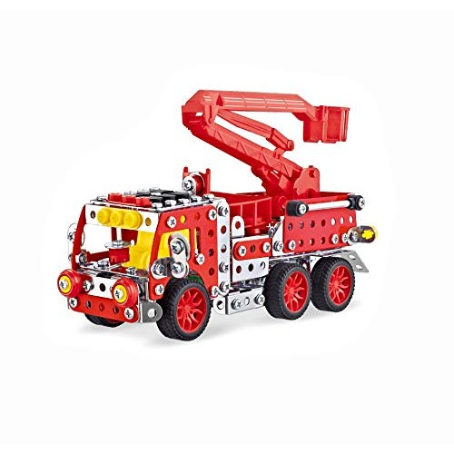 KiddlingKids 3D Metal Puzzle Mechanical Assembly Truck Toy STEM Educational DIY Handmade Engineering Building Blocks Ladder Fire Age 8 -12 for Boys Adults Birthday Gift