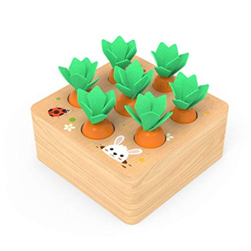 AGAWA Building Blocks Children Wooden Harvest Carrot Toy Shape Matching Game Kids Early Education Toys Gift