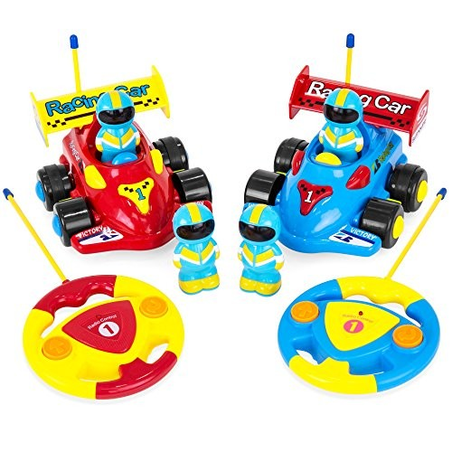Best Choice Products RC Firetruck and Police Car Set w/ Removable Action Figures Blue/Red