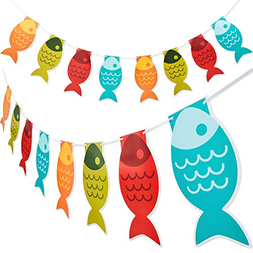 2 Pieces Fish Banner Paper Pennant Fisherman Garland for Fishing Party School Decoration Supplies