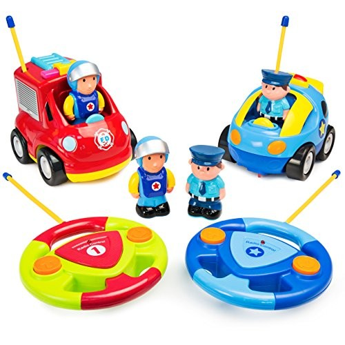 Best Choice Products Set of 2 RC Remote Control Firetruck and Police Cars w/