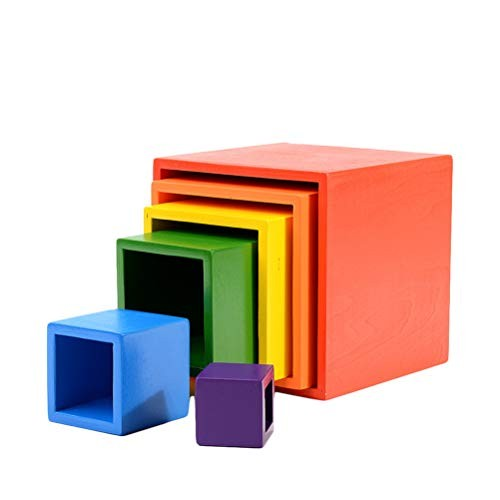 AGAWA Building Blocks Kids Rainbow Stacker Wooden Toys Creative Early Educational Toy Children Gift