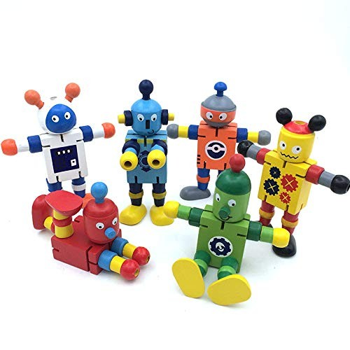Set of 6 Wooden Transforming Toys Robots Creative Gift for The Development Child