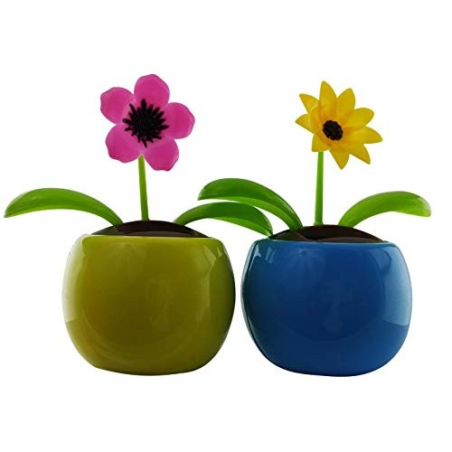 Eco-friendly Solar Powered Flower Dancing Toys Pink Petunia and Yellow Black-Eyed Susan Flowers in Decorative Pots Office Desk Car Dcor Sunflowers colorful 2 Pack
