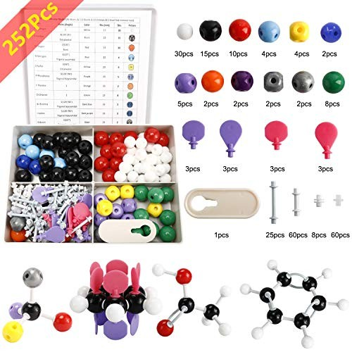 HYDDNice 252Pcs Molecular Model Kit Inorganic and Organic Chemistry Student or Teacher Pack with User Guide 86 Atoms & 153 Links 12 Orbitals 1 Short Link Remover Tool