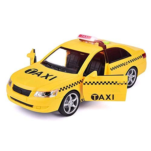 SOFINNI Yellow Taxi Cab Checkered Car Toy Vehicle NYC Friction Powered Toys with Lights