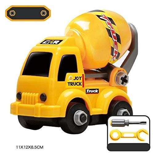 Kouye Children Plastic Car Toy Play Yellow Mini Excavator Assembled Engineering Vehicles