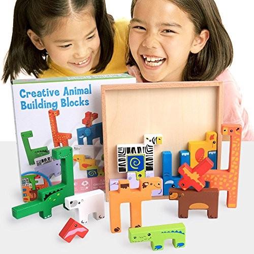 Puzzle Educational Wooden Cartoon Animal Board 3D Building Block Child Baby Toys Three-Dimensional Creative Blocks