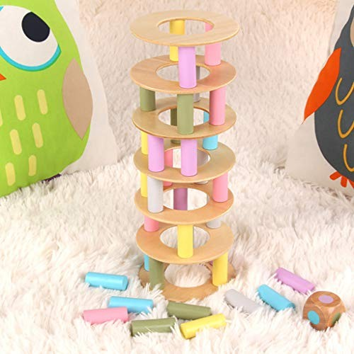 Cute Dolls Wooden Stacking Board Game Toy Roller Tower Building Blocks Funny Children Pizza Stacked High Balance Educational