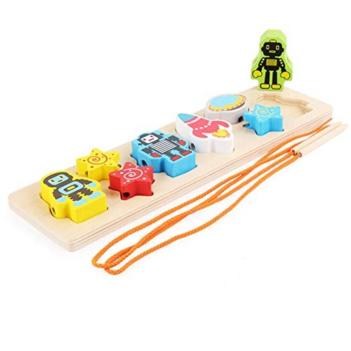 Dolls Educational Wooden Space Shaped Beaded Matching Board Building Block Toys Robot Geometric Paired Blocks Stringing Toy