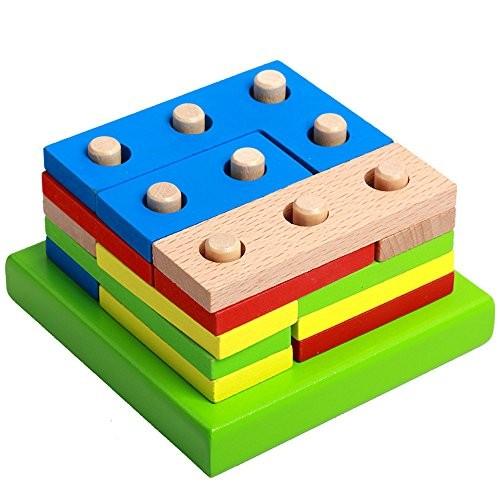 Assembling Blocks Montessori Wooden Puzzle Kids Toy Geometric Sorting Board Educational Children's Building