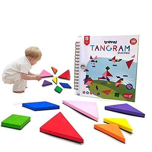 Travel Tangram for Kids Magnetic Puzzle 240 368 Patterns Easel Book Brain Teasers Stacking Jigsaw Shape Dissection STEM Games with Solution Early Educational Learning IQ Toy2 Sets Block Green-368