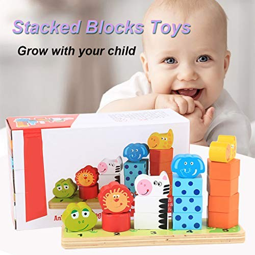 Educational Dolls Wooden Learning Puzzle Stacked Blocks Geometric Set Baby Toys Animal Stacks of